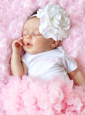 White Rose Infant Flower Headband