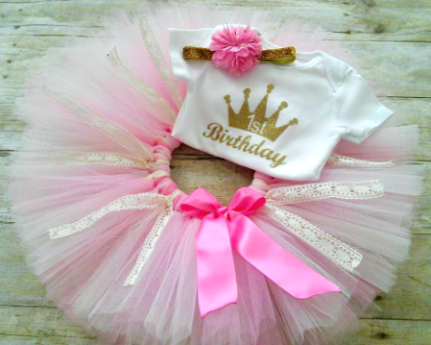 Gold Glitter Crown First Birthday Princess Tutu Outfit