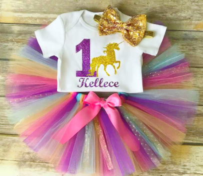 Purple Pink and Gold First Birthday Unicorn Tutu Outfit Set