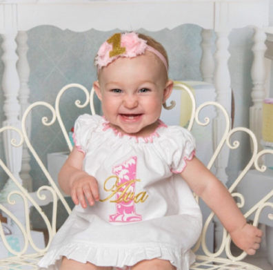Pink & Gold Damask First Birthday Personalized Baby Girl Dress Outfit Set