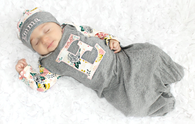 Baby Girls Personalized Initial Floral Gray Newborn Gown