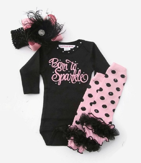 Black & Pink Born to Sparkle Baby Girls Onesie 4pc. Outfit Set