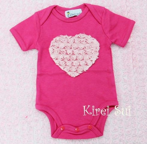 Sweet Hot Pink with Pink Rosette Heart Onesie