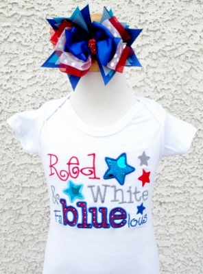 Baby Girls Patriotic Fabluelous Stars Fourth of July Embroidered Shirt
