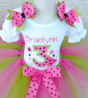 Juicy Watermelon Birthday Tutu Set