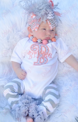 Coral & Gray Personalized Monogram Onesie