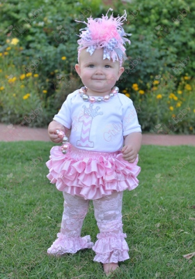 Light Pink First Birthday Chevron Princess Crown Onesie