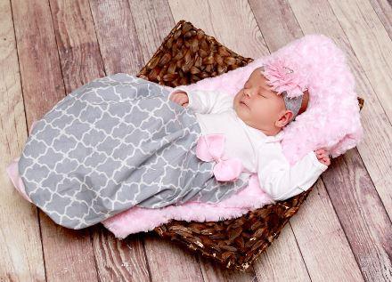 Gray & Pink Quatrefoil Newborn Layette Infant Gown