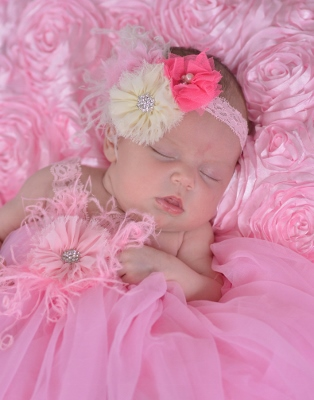 Dainty Darling Infant Vintage Flower Headband-Beautiful, Light Pink, Dark Pink, Cream Flowers, Rhinestone, Bling ,Pink Feathers ,Lace ,Headband, infant, newborn, baby, girl, boutique