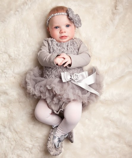 Romantic Silver Romper Pettidress With Rosettes, Matching Headband & Shoes