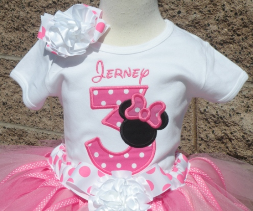 6f602cc53 Hot Pink & Black Miss Mouse Polka Dot Birthday Tutu Outfit Set