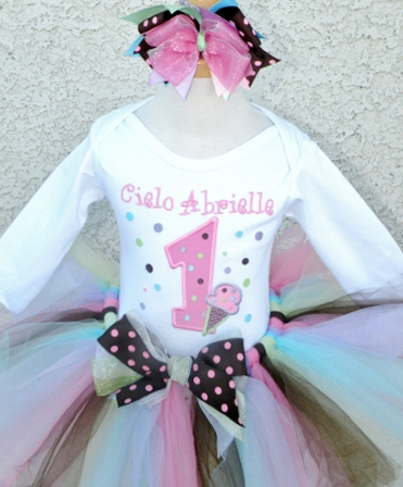 Neapolitan Ice Cream Dots Birthday Tutu Outfit