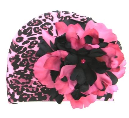 Pink & Black Leopard Print Peony Flower Hat
