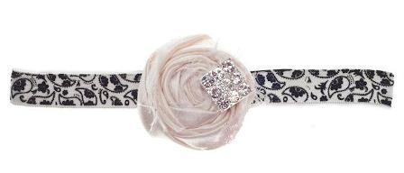 Ivory Luxe Jeweled Silk Rosette Paisley Vintage Headband