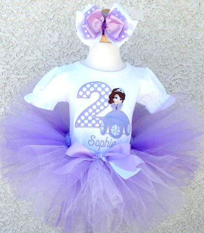 Sofia the 1st Lavender Princess Birthday Tutu Outfit Set