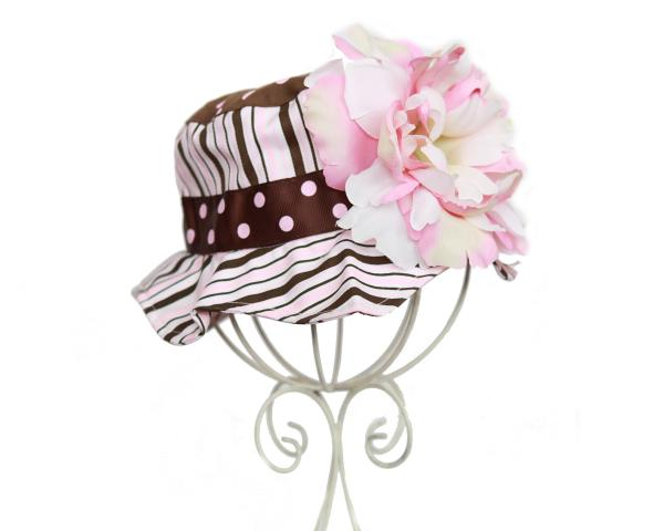 Brown Pink White Dot Multistripe Peony Sun Hat