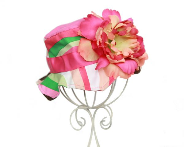 Multi Pink Stripe Orange Raspberry Peony Sun Hat