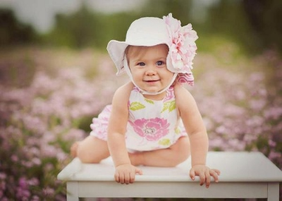 White Sun Hat with Pink Peony Flower