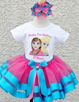 Sparkle Blue Pink Frozen Sisters Ribbon Tutu Skirt Outfit-tutu set, set, outfit, birthday, frozen, Disney, princess, sisters, elsa, ana, anna, hot pink, turquoise, party