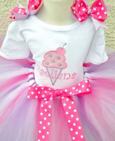 Strawberry Lavender Ice Cream Birthday Tutu Outfit