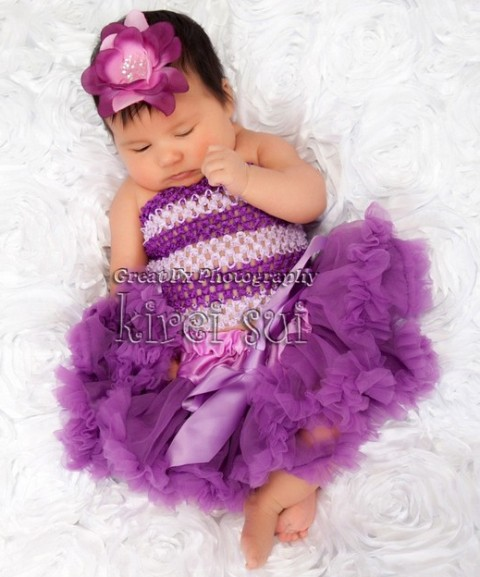Newborn Purple Pettiskirt with Crochet Tube Top Outfit Set