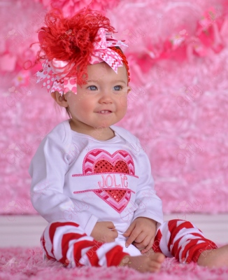 Valentine Sequin Heart Personalized Chevron Shirt