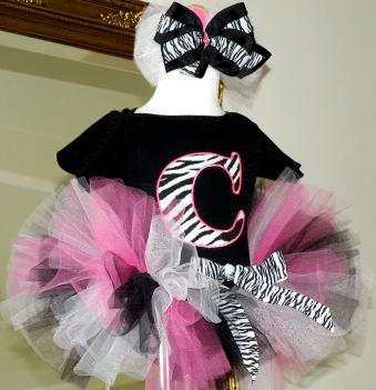 Pink Zebra Baby Initial Birthday Tutu Outfit
