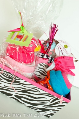Zebra Print Baby Girl Shower Gift Basket