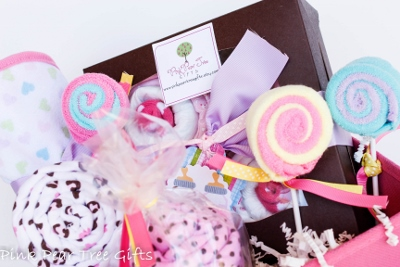 Tickled Pink Baby Girl Shower Gift Basket