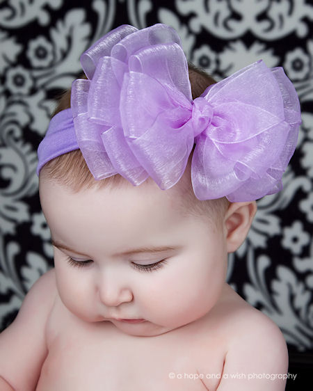 Sheer Chiffon Layered Hair Bow Headband-dressy, infant, baby girl, lavender, hairbow,