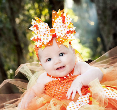 Glitzy Candy Corn Over-The-Top Hair Bow Headband-orange, white, infant, baby girl, boutique, hairbow, halloween