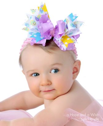 Easter Glamour Funky Ribbons Hair Bow Headband-easter eggs, egg, pastel, infant, baby girl, boutique, hairbow, headband, spring