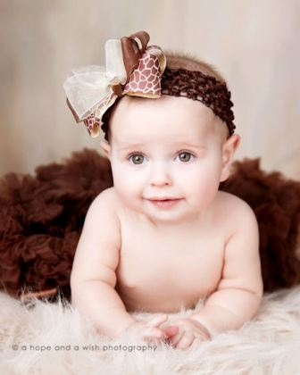Simply Couture Giraffe Print Ivory & Brown Baby Headband-giraffe, animal print, infant, baby headband hairbow, boutique