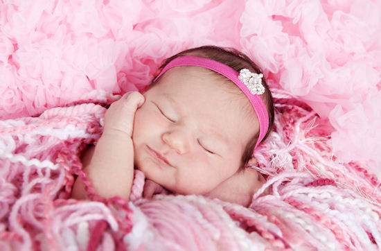 Jeweled Princess Baby Mini Tiara Hot Pink Headband