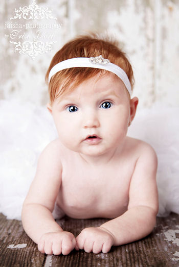 White Luxury Princess Baby First Tiara Rhinestone Headband