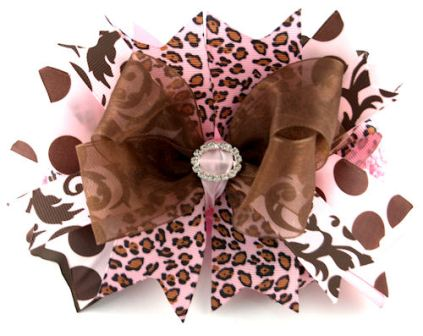 Posh Cheetah Brown & Pink Couture Diva Baby Headband Hair Bow-leopard, pink and brown, infant, baby girl , boutique hairbow, headband