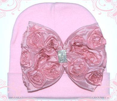 French Shabby Rosette Rhinestone Vintage Pink Baby Hat