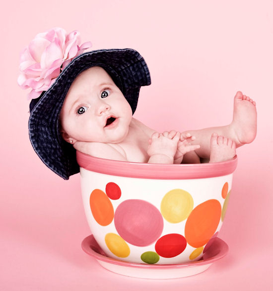 Pretty Pink Rose Baby Denim Sun Hat
