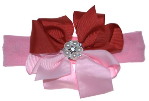Valentine's Day Girly Glamour Pearl Baby Hair Bow Headband-pink, red, pearl, pearls, valentine, valentines, valentine's, day love