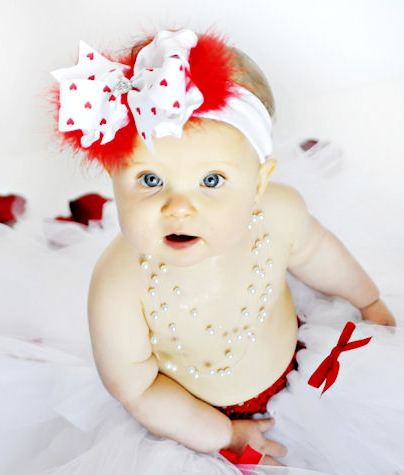 Darling Cupid Cutie Red Hearts Over the Top Hair Bow Headband