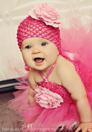 Layla Grace Hot Pink Silk French Rose Baby Crochet Hat