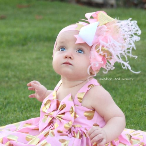 Pink and Gold Over the Top Hair Bow Headband