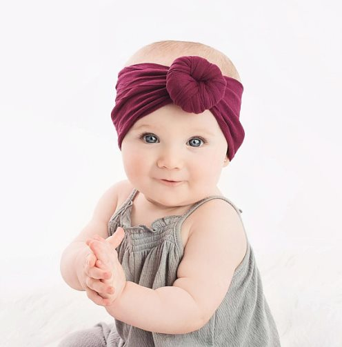 Baby Girls Nylon Round Top Knot Headwrap Headband Baby