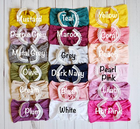 Choose Color - Lace Trim Nylon Messy Bow Headwrap Headband