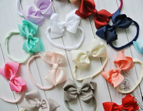 Choose Color - Small Bow Nylon Baby Girl Headband