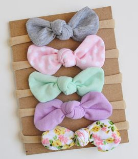 Spring Starter Set of 5 Infant Knot Baby Bow Headbands