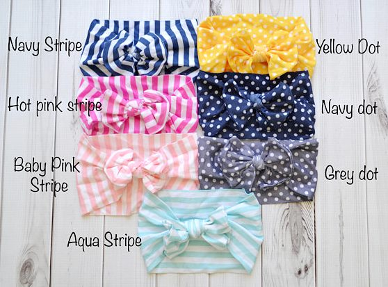 Choose Color - Printed Nylon Messy Bow Headwrap Headband