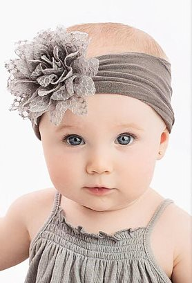 Choose Color - Nylon Flower Bow Baby Headwrap Headband