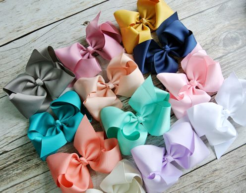 Choose Color - Large Solid Color Basic Boutique Hair Bow