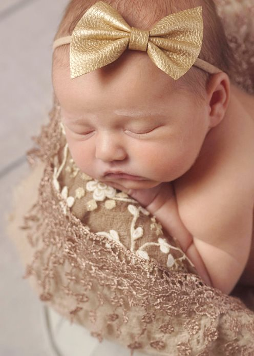 Choose Color - Leather Bow Skinny Nylon Infant Headband